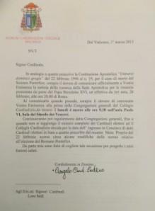 lettera di convocazione cardinali